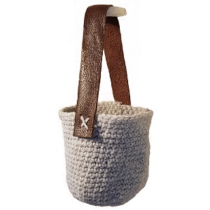 Crochet Planter / Leather Handle / Made in Cornwall